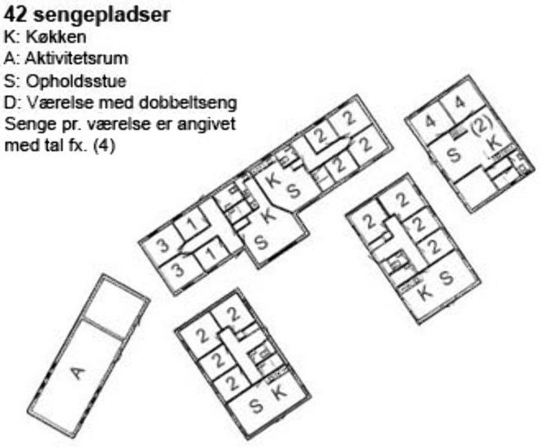 Grundrisse von der Gruppenunterkunft 03453829 KLK-Gruppenhaus - Skovbyholm in Dänemark 4840 Nr. Alslev für Jugendfreizeiten