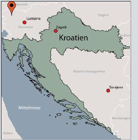 Karte von der Gruppenunterkunft 07387001 Gruppenhaus SUHA HÜTTE in Dänemark 4265 Bohinjsko Jjezero für Kinderfreizeiten