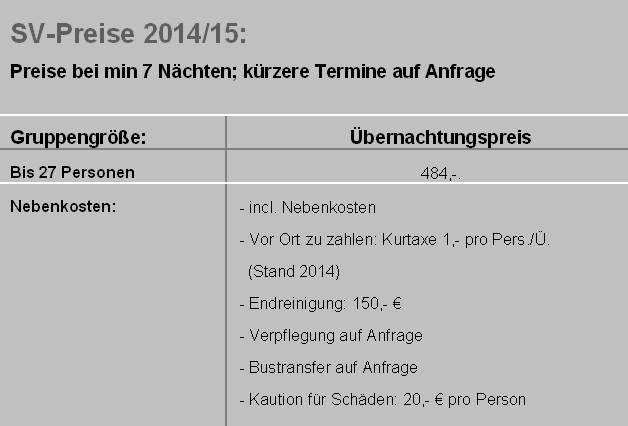Preisliste vom Gruppenhaus 03493705 Neuharlingersiel in Deutschland 26427 Neuharlingersiel-Hartward für Gruppenreisen