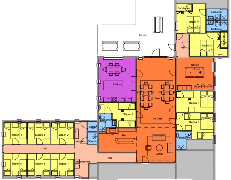 Grundrisse von der Gruppenunterkunft 00310770 Gruppenhaus BALKBRUG in Dänemark 7707 PL Balkbrug für Jugendfreizeiten