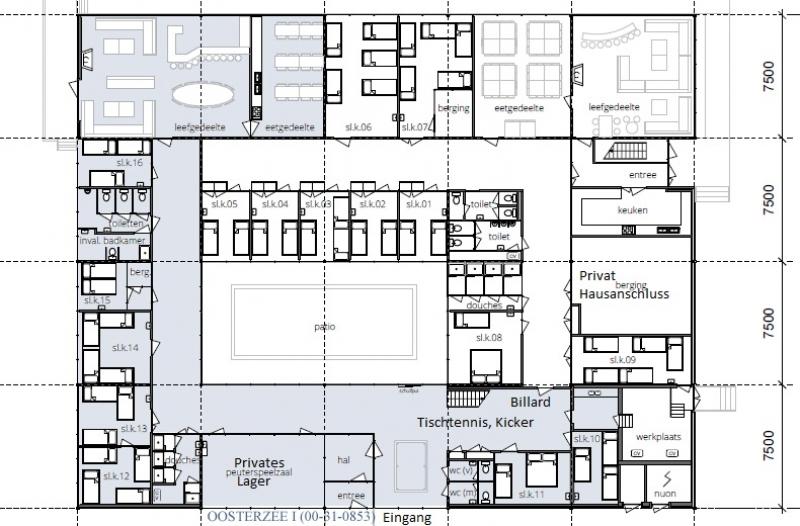 Grundrisse von der Gruppenunterkunft 00310853 Gruppenhaus HET WATER I in Dänemark 8536 VD Oosterzee für Jugendfreizeiten