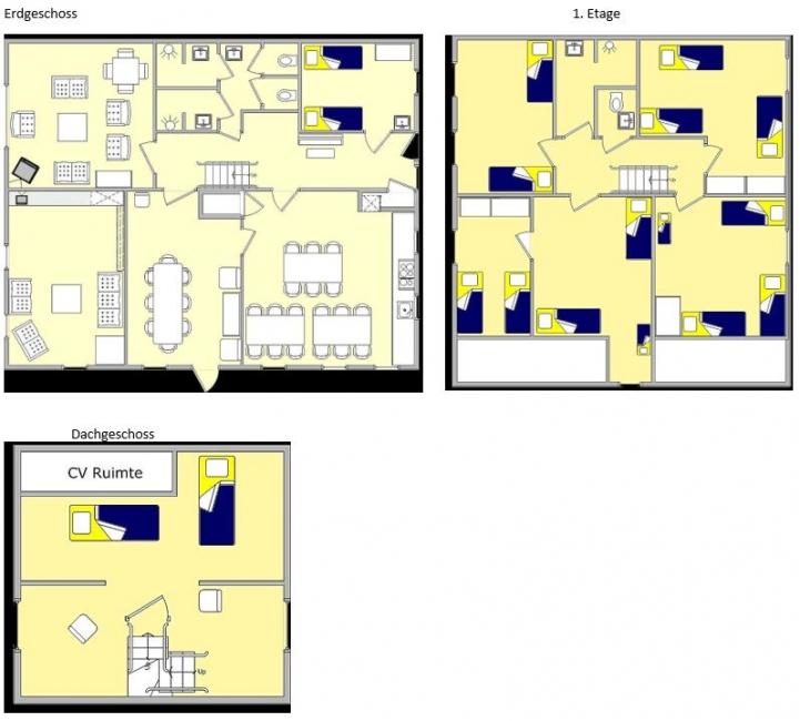 Grundrisse von der Gruppenunterkunft 00310581 Gruppenhaus BOERENHOEVE II in Dänemark 5813 Ysselstein für Jugendfreizeiten