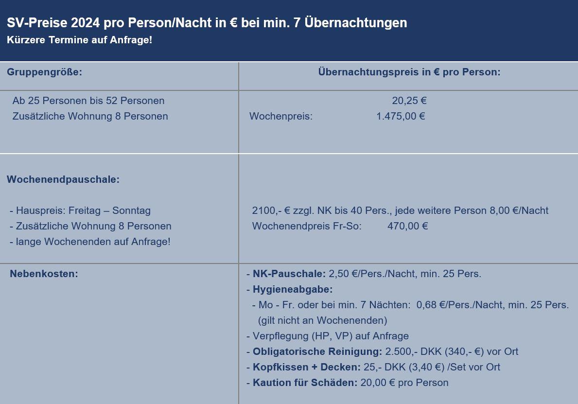 Preisliste vom Gruppenhaus 03453819 KLK-Gruppenhaus - THORØGAARD in Dänemark 5610 Assens für Gruppenreisen