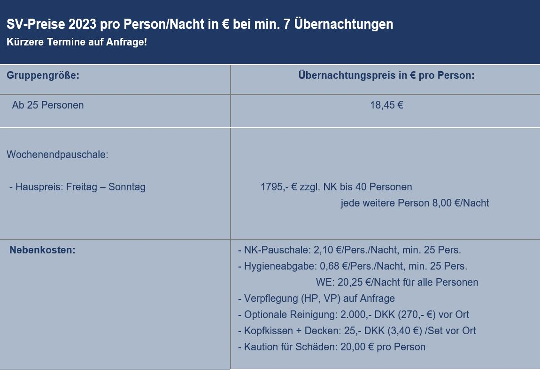 Preisliste vom Gruppenhaus 03453817 KLK-Gruppenhaus - VESTERBORG in Dänemark 5610 Assens für Gruppenreisen