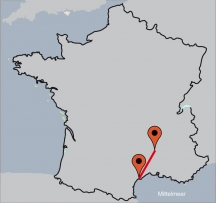 Aussenansicht vom Gruppenhaus 00330500 ZEBU<sup>®</sup>-Kombi: ARDÈCHE & MITTELMEER - S - in Frankreich 07150 Salvadas &  Agde für Gruppenfreizeiten