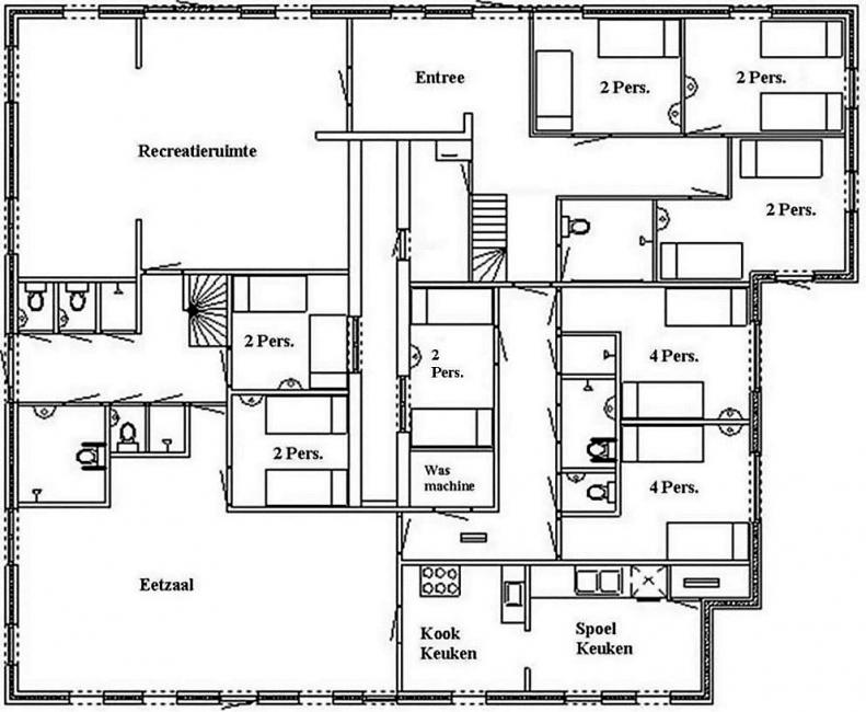 Grundrisse von der Gruppenunterkunft 00310997 Gruppenhaus DE MARNE in Dänemark 9975  Vierhuizen für Jugendfreizeiten