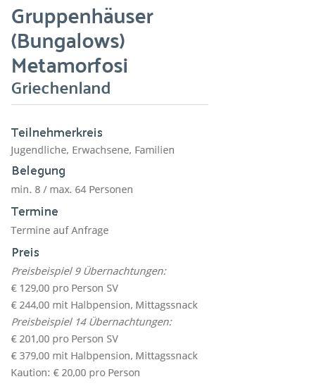 Preisliste vom Gruppenhaus 04304011 Gruppenhäuser-Bungalows Metamorfosi in Griechenland 14451 Metamorfosi für Gruppenreisen