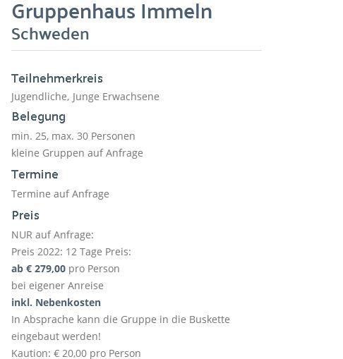 Preisliste vom Gruppenhaus 04464174 Gruppenhaus Immeln in Schweden S-28073 Immeln für Gruppenreisen