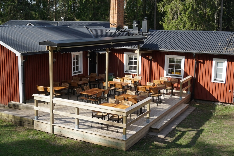Aussenansicht von der Gruppenunterkunft 04464130 Gruppenhaus Stora Skogsgarden in Schweden S-61691 Aby-Norrköping für Jugendfreizeiten