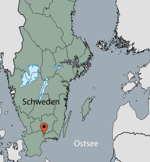 Karte vom Gruppenhaus 04464161 Kanukombi Olofström in   Olofström für Gruppenreisen