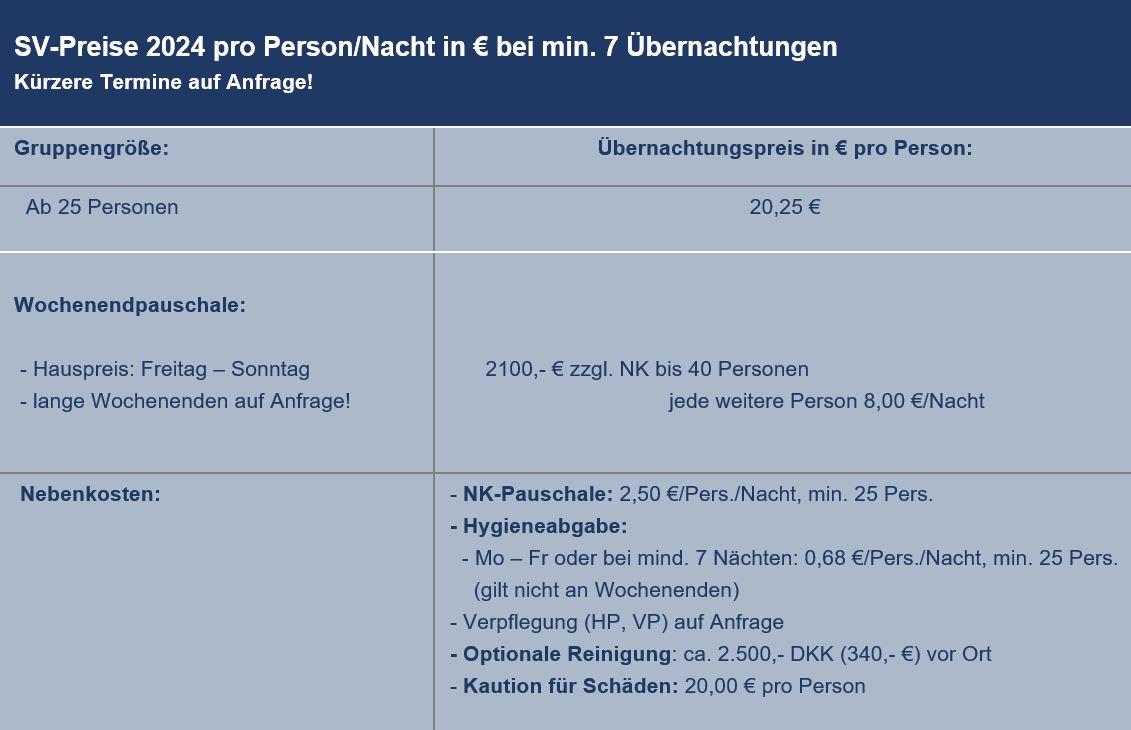 Preisliste vom Gruppenhaus 03453808 KLK-Gruppenhaus - SKAMLEBÆK in Dänemark 4540 Fårevejle für Gruppenreisen