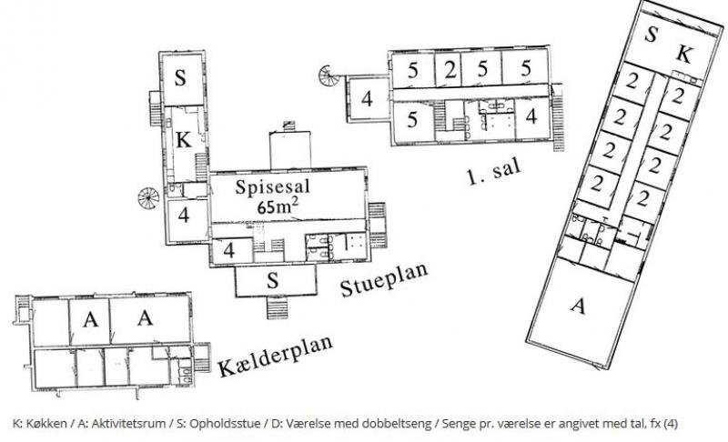 Grundrisse von der Gruppenunterkunft 03453809 KLK-Gruppenhaus - Højbjerghus in Dänemark 4540 Fårevejle für Jugendfreizeiten