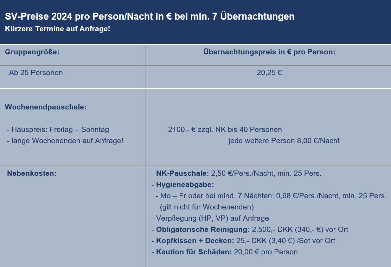 Preisliste vom Gruppenhaus 03453818 KLK-Gruppenhaus - SKOVHYTTEN in Dänemark 5610 Assens für Gruppenreisen
