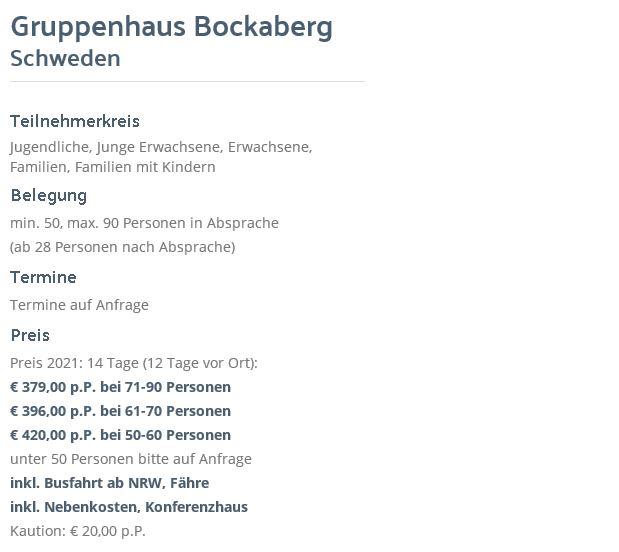 Preisliste vom Gruppenhaus 04464020 Bockaberg in Schweden   Floda für Gruppenreisen