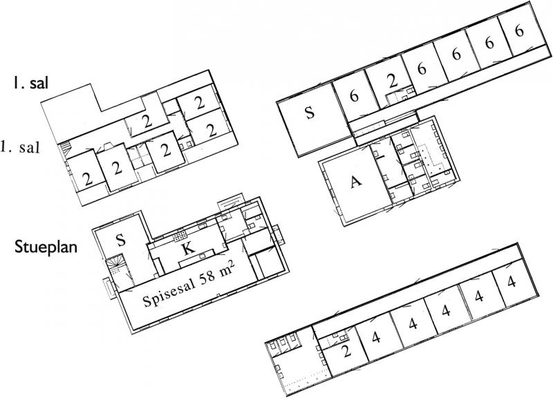 Grundrisse von der Gruppenunterkunft 03453816 KLK-Gruppenhaus STENKILDE in Dänemark 4793 Bogø By für Jugendfreizeiten