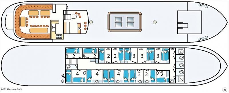 Grundrisse von der Gruppenunterkunft 03103028 Segelschiff STORE BAELT in Dänemark 8861 Harlingen für Jugendfreizeiten