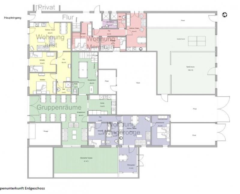 Grundrisse von der Gruppenunterkunft 00490266 Gruppenhaus Auerk in Dänemark 26605 Aurich für Jugendfreizeiten