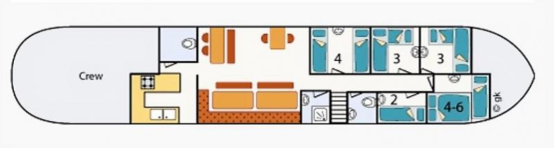 Grundrisse von der Gruppenunterkunft 03103369 Plattbodensegelschiff VRIENDSCHAP in Dänemark 8861 Harlingen für Jugendfreizeiten