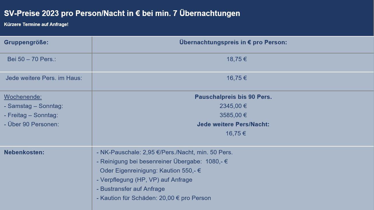 Preisliste vom Gruppenhaus 03453469 Borremose Centeret in Dänemark 9610 Nørager für Gruppenreisen
