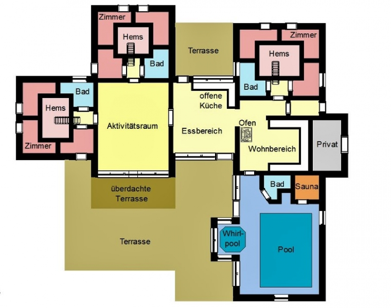 Grundrisse von der Gruppenunterkunft 03453852 Gruppenhaus FLOVT AKTIVHUS in Dänemark 6100 Haderslev für Jugendfreizeiten