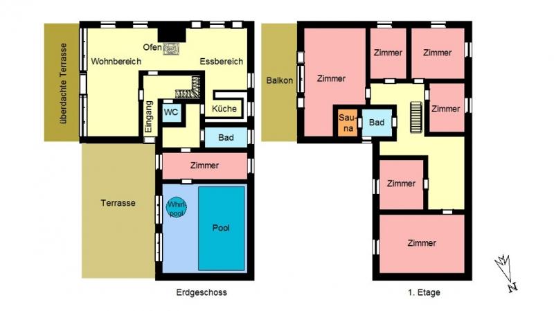 Grundrisse von der Gruppenunterkunft 03453853 Gruppenhaus HUS VESTKLIT in Dänemark 6950 Ringkoebing für Jugendfreizeiten