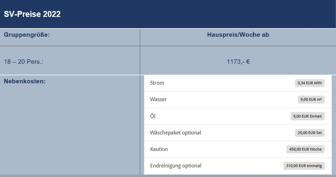 Preisliste vom Gruppenhaus 03453853 Gruppenhaus HUS VESTKLIT in Dänemark 6950 Ringkoebing für Gruppenreisen