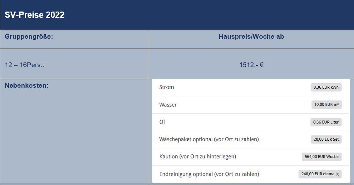 Preisliste vom Gruppenhaus 03453854 Gruppenhaus BOGENSE AKTIVHUS in Dänemark 5400 Bogense  für Gruppenreisen