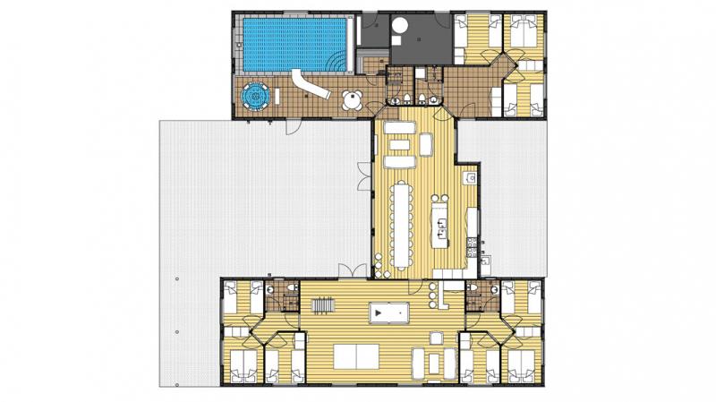Grundrisse von der Gruppenunterkunft 03453858 Liseleje Poolhuse in Dänemark 3300 Frederiksvaerk für Jugendfreizeiten