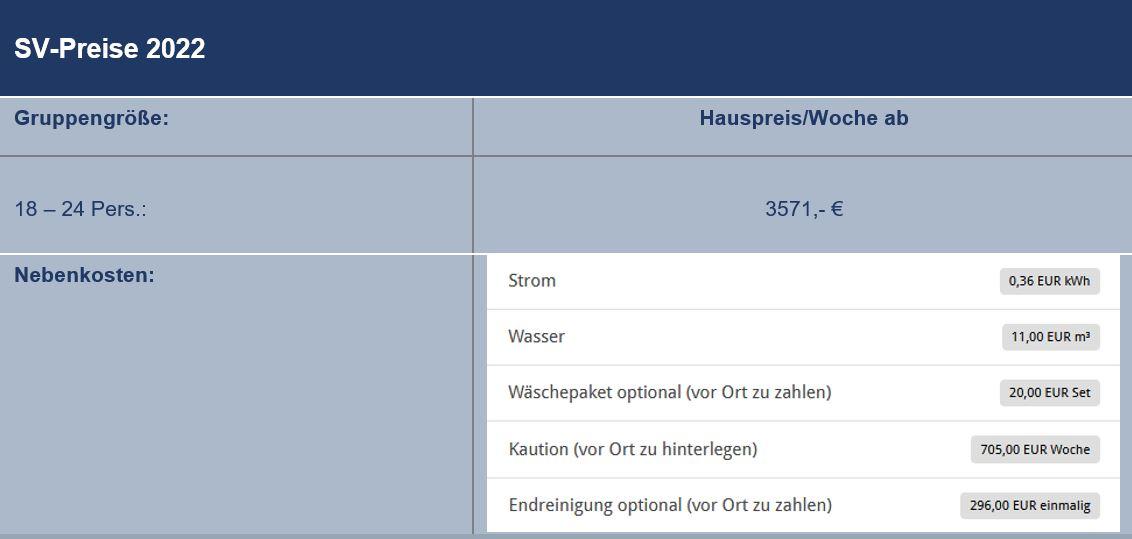 Preisliste vom Gruppenhaus 03453858 Liseleje Poolhuse in Dänemark 3300 Frederiksvaerk für Gruppenreisen