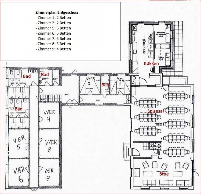 Grundrisse von der Gruppenunterkunft 03453185 Sundeved Centret in Dänemark 6400  Soenderborg für Jugendfreizeiten