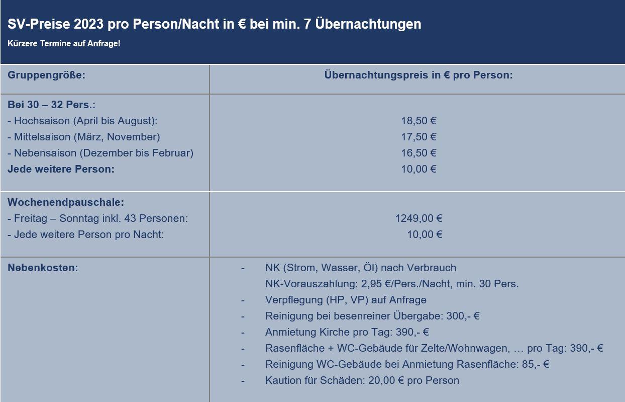 Preisliste vom Gruppenhaus 03453185 Sundeved Centret in Dänemark 6400  Soenderborg für Gruppenreisen
