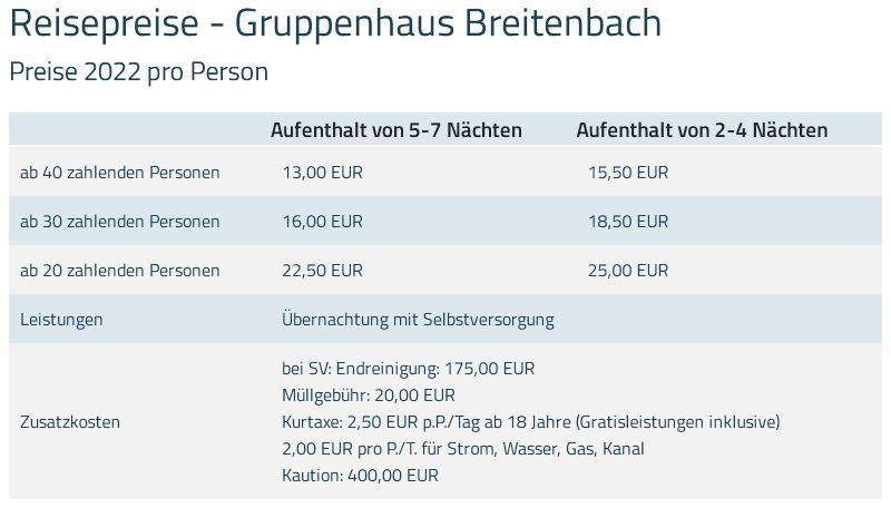 Preisliste vom Gruppenhaus 07437004 Breitenbach in Österreich  Breitenbach für Gruppenreisen