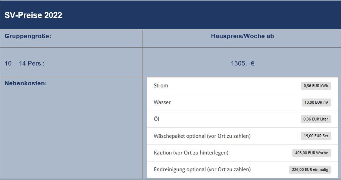 Preisliste vom Gruppenhaus 03453861 Vestermosen Hus in Dänemark 5400 Bogense Sogn für Gruppenreisen