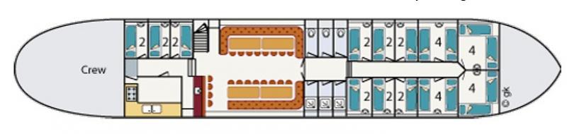 Grundrisse von der Gruppenunterkunft 03103151 Plattbodenschiff SUYDERSEE in Dänemark 8861 Harlingen für Jugendfreizeiten
